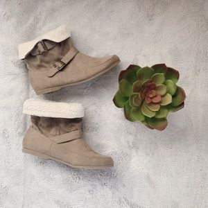 MIA Faux Fur Foldable Booties with Buckles